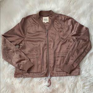 Thread & Supply silky light rose bomber jacket